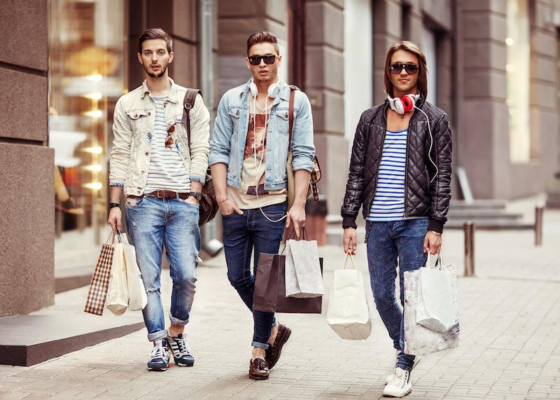 Three Young male fashion shop shopping walk